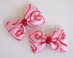 Pink Doodle Hearts Mini Tuxedo Bow