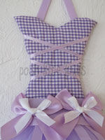 Lavender Gingham Mini Tutu Bow Holder