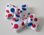 Red & Royal Spots Mini Boutique Bow