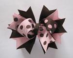 Rose Pink & Brown Polka Dot Stacked Topper