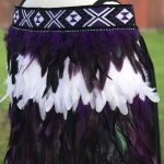 Toddler Kākahu Huruhuru - Purple with White Contrast