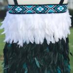 Toddler Kākahu Huruhuru - Turquoise with White Trim