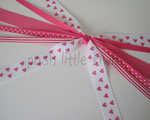 White with Hot Pink Hearts Ponytail Streamer